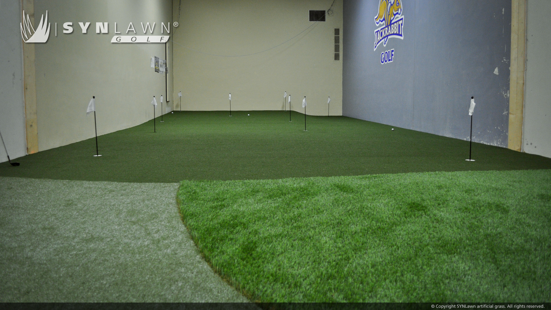 image of indoor golf facility at South Dakota State University